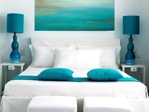 Quiet Harbor: Turquoise Curtains in Interior. Livemaster - handmade