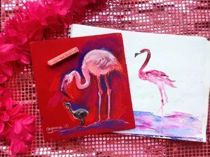Рисуем фламинго с детенышем. Ярмарка Мастеров - ручная работа, handmade.