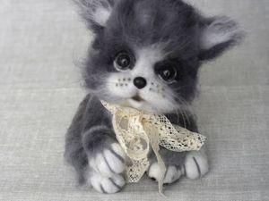Пушистый котик, войлочная игрушка. Ярмарка Мастеров - ручная работа, handmade.