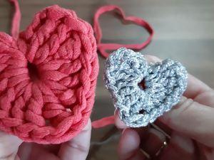 Сердечко-валентинка крючком из трикотажной пряжи за 5 минут. Ярмарка Мастеров - ручная работа, handmade.
