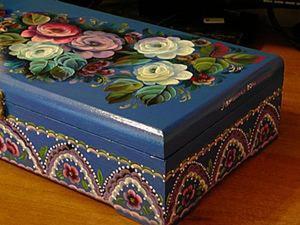 Делаем орнамент на шкатулке двойным мазком. Ярмарка Мастеров - ручная работа, handmade.