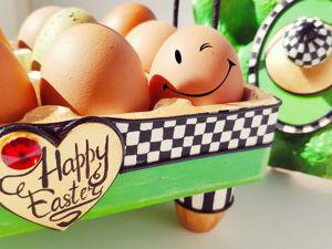 Корзинка для яиц из картона и лотков. Поделки к Пасхе. Ярмарка Мастеров - ручная работа, handmade.
