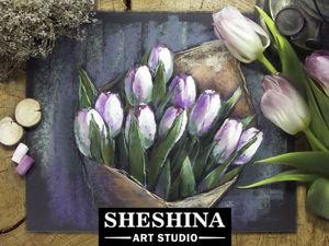 Рисуем букет тюльпанов сухой пастелью. Ярмарка Мастеров - ручная работа, handmade.