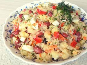 Салат из квашеной капусты с консервированной фасолью. Ярмарка Мастеров - ручная работа, handmade.