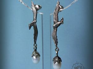 Серьги-пусеты  «Чайки» , серебро, жемчуг. Ярмарка Мастеров - ручная работа, handmade.