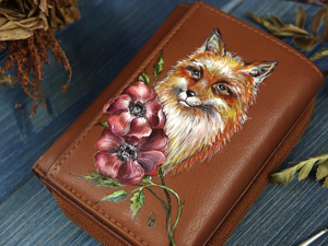 Painting Leather Wallet: Secrets of Persistent Pattern. Livemaster - hecho a mano - handmade.