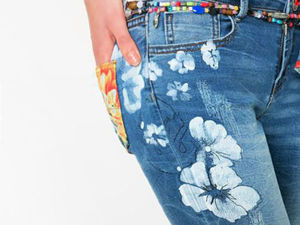 Diverse Jeans Decor from Embroidery, Painting and Lace. Livemaster - hecho a mano - handmade.