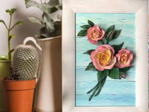Создаем картину «Утренние розы» из соленого теста. Ярмарка Мастеров - ручная работа, handmade.
