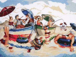 Лето, солнце, море, пляж в вышивке. Ярмарка Мастеров - ручная работа, handmade.