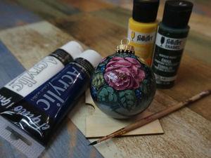 Как рисовать розу на елочном шарике. Ярмарка Мастеров - ручная работа, handmade.