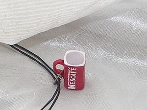 Подвеска из полимерной глины - кружечка Нескафе.. Ярмарка Мастеров - ручная работа, handmade.