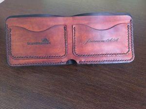 Шьем из кожи мужское портмоне в стиле минимализм. Ярмарка Мастеров - ручная работа, handmade.