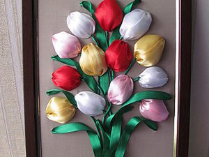 "Мастер-класс. Картина ""Тюльпаны""  из Атласных Лент.. Ярмарка Мастеров - ручная работа, handmade."
