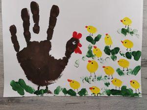 Как нарисовать курочку и цыплят ладошками? Пальчиковый метод. Ярмарка Мастеров - ручная работа, handmade.