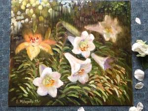 Новая картина — Лилии в саду. Ярмарка Мастеров - ручная работа, handmade.