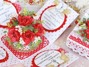 Цветочная коробочка с красными розами. Ярмарка Мастеров - ручная работа, handmade.