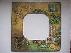 """Ключница или часы или зеркало """"Старый дворик"""". Ярмарка Мастеров - ручная работа, handmade."""