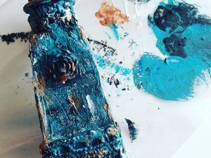 Производим декор бутылки шпаклевкой. Ярмарка Мастеров - ручная работа, handmade.