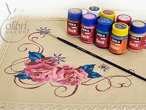 Роспись новогодней салфетки «Роза». Ярмарка Мастеров - ручная работа, handmade.