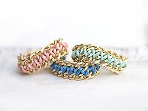 Модный браслет из цепочки и шнура. Ярмарка Мастеров - ручная работа, handmade.