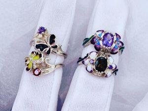 Серебряные кольца с горячей эмалью в наличии. Ярмарка Мастеров - ручная работа, handmade.