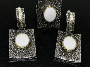 Новогодний аукцион на Серебряный комплект 925 пробы серьги и кольцо Камни Кахолонг. Ярмарка Мастеров - ручная работа, handmade.