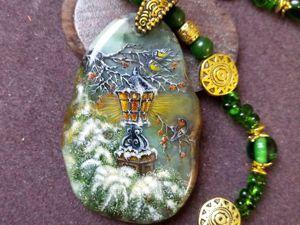 Сказка зимы – украшение  — лаковая миниатюра на камне – ручная авторская роспись. Ярмарка Мастеров - ручная работа, handmade.