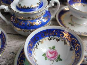 Розы в сине-золотом. Кофейный комплект. Ярмарка Мастеров - ручная работа, handmade.