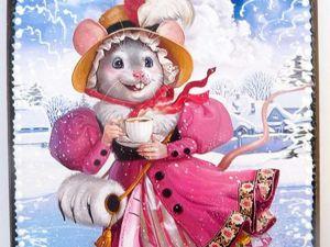 Досочка разделочная Мышка на катке. Ярмарка Мастеров - ручная работа, handmade.