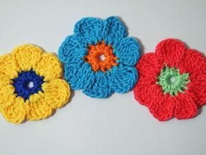 Цветок крючком для начинающих. Ярмарка Мастеров - ручная работа, handmade.