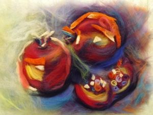 Мастер-класс по шерстяной живописи «Гранаты». Ярмарка Мастеров - ручная работа, handmade.