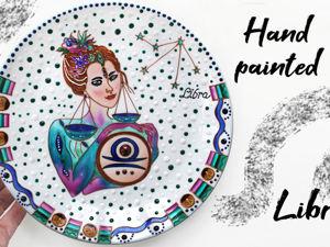 Расписываем тарелку «Знак зодиака Весы» D 32 см. Ярмарка Мастеров - ручная работа, handmade.