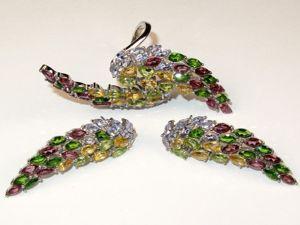 Серьги и кольцо Крылья с танзанитом, хромдиопсидом серебряные. Ярмарка Мастеров - ручная работа, handmade.