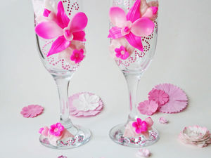 Декорируем  бокал для шампанского элементами из полимерной глины. Ярмарка Мастеров - ручная работа, handmade.