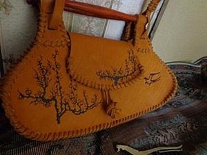 Женская сумка из кожи с пирографией.. Ярмарка Мастеров - ручная работа, handmade.
