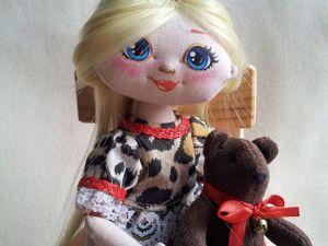 Шарнирная текстильная кукла  «Маша и медведь». Ярмарка Мастеров - ручная работа, handmade.