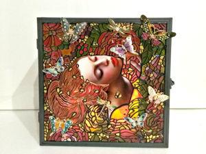 Витражная объемная картина/ декоративный подсвечник  «Предвосхищение счастья». Ярмарка Мастеров - ручная работа, handmade.
