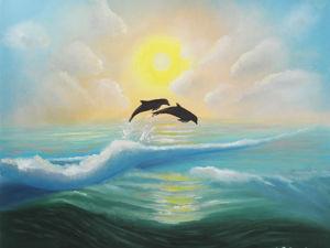 Видео с картиной  «Дельфины на закате». Ярмарка Мастеров - ручная работа, handmade.