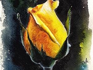 Бутон розы в технике акварель. Ярмарка Мастеров - ручная работа, handmade.