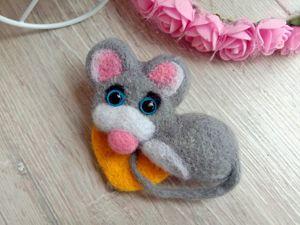 Мышка в технике сухое валяние. Ярмарка Мастеров - ручная работа, handmade.