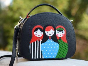 Видео сумочки с ручной росписью Матрешки. Ярмарка Мастеров - ручная работа, handmade.