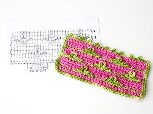 Красивый двухцветный узор крючком. Ярмарка Мастеров - ручная работа, handmade.