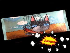 Акция 400 р за Косметичку-пенал  «Charming cat». Ярмарка Мастеров - ручная работа, handmade.