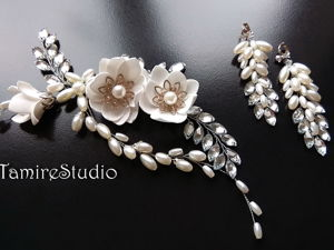 How to Make a Wedding Jewelry Set: a Hair Twig and Earrings. Livemaster - handmade