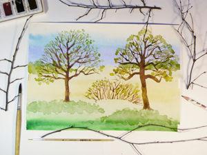 Мой новый поэтапный видео урок  «Рисуем акварельные деревья». Ярмарка Мастеров - ручная работа, handmade.