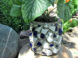 Делаем вазон из цемента с мозаикой. Ярмарка Мастеров - ручная работа, handmade.
