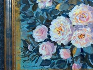 Интерьерная картина маслом «Розы и соловей». Ярмарка Мастеров - ручная работа, handmade.