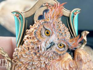 ВИДЕО. Кулон Enigma с совой из полимерной глины. Макро. Ярмарка Мастеров - ручная работа, handmade.