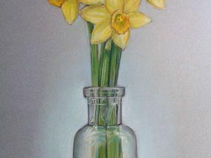 Как передать  пастелью прозрачность стекла и свежесть весенних цветов. Ярмарка Мастеров - ручная работа, handmade.