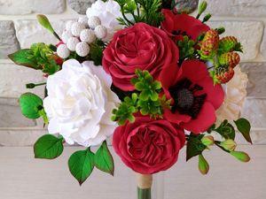Букет с красными розами и пионами. Ярмарка Мастеров - ручная работа, handmade.